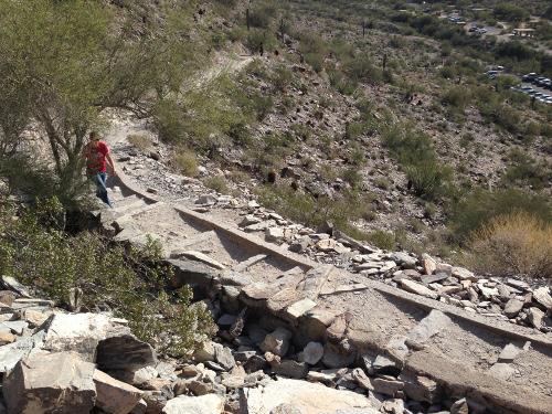 The rocky trail steps
