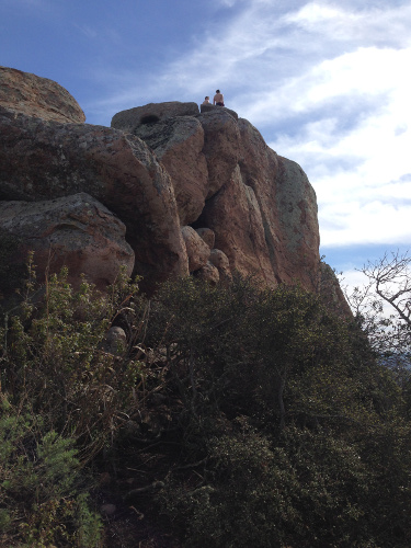Agile people can climb rocks from the top of the trail