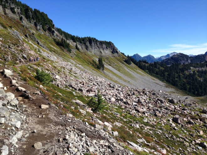 Looking back on the trail that came straight across that steep slope.